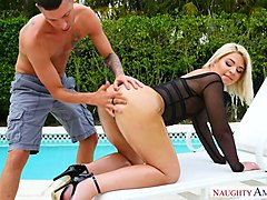 small tittied blonde rharri rhound gets her pussy fucked by the poolside