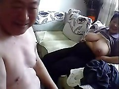 Old Chinese Couple Get Naked and Fuck on Cam